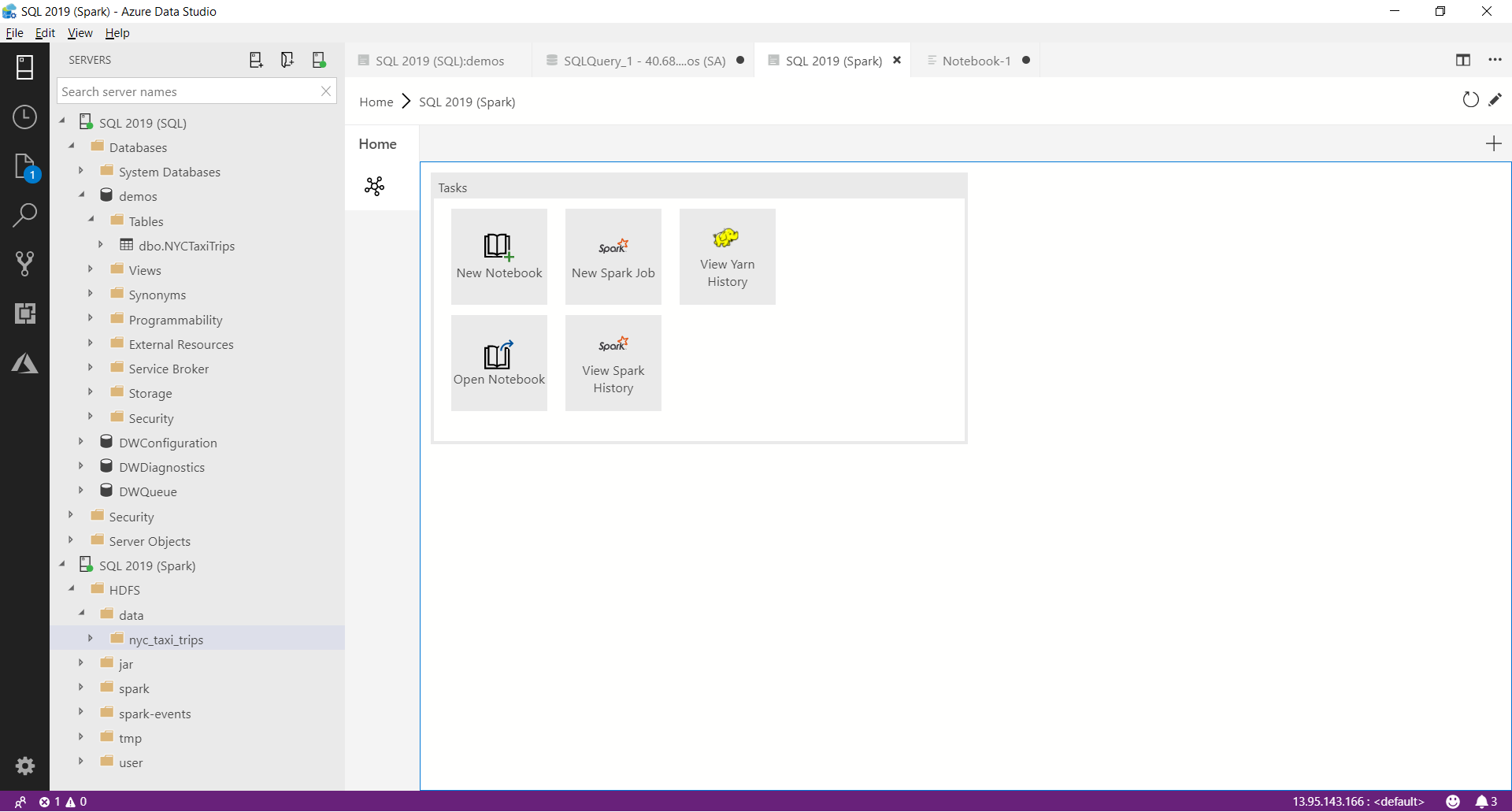 Azure Data Studio with SQL Server 2019 extension